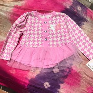 Buster Brown Pink Tulle Ruffle Tee Sequin Heart